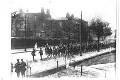 Easter Rising, Volunteers from the Battalion marching down Grand Canal Street Lower under escort carrying their weapons Ireland 1916, Irish Republican Army, Easter Rising, Grand Canal, Dublin, Joseph, Volunteers, Explore, History