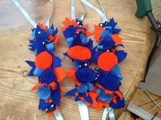 Orange & blue felt flower wrist bracelets, novel idea for bridesmaids, created by Michele knibbs @Muscari Whites Florist www.muscariwhites.co.uk #muscariwhitesflorist