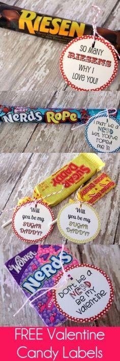 Free Valentines Candy Labels on { lilluna.com } by susangir