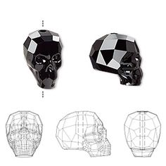 Bead, Swarovski crystal, Crystal Passions®, jet, 14x13x10mm faceted skull (5750). Sold individually.