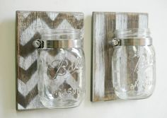 Chevron Wall Decor Pair Two Mason Jars Mounted On Dark Recycled Wood Shabby Chic…