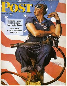 "Norman Rockwell's ""Rosie the Riveter"" appeared on the cover of ""The Saturday Evening Post"" 29 May 1943 for the Memorial Day edition. Painting, Style, Art, Fashion, Swag, Moda, Kunst, Fasion, Gcse Art"