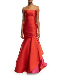 TB13C Monique Lhuillier Strapless Colorblock Ball Gown, Fire/Magenta