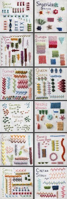 Ficam aqui alguns dos pontos para bordados à mão. Ideias simples, mas que transformam as nossas costuras em peças únicas! Boas Costuras! Fonte: pinterest