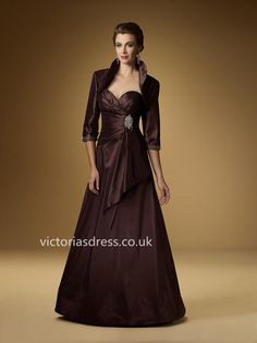 A-line Sweetheart Taffeta Chocolate Mother of Bridal Dress With Beading
