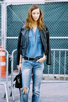 whowhatwear:  Denim loves leather.
