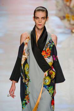 Etro S/S '13 - modern twist on a traditional kimono shape.