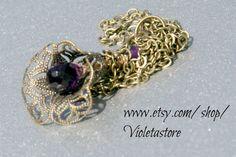 flower cap tear drop facet pear shape, deep purple amethyst  Necklace - pinned by pin4etsy.com