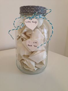 A small homemade gift for my boyfriend. As it suggests, and similar to other ideas on here,  it is a jar full of little reasons why I like him so much. They are funny, cute and will hopefully put a smile on his face.