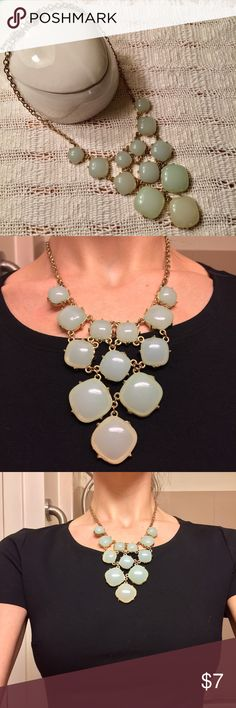 Mint sage statement necklace Gold colored chain with plastic mint or sage green baubles. Jewelry Necklaces