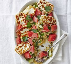 Add to favourite Print Halloumi & watermelon bulgur salad ByCassie Best A satisfying vegetarian salad of contrasting flavours and textures. Watermelon And Halloumi, Watermelon Mint Salad, Halloumi Salad, Bulgur Salad, Grilled Halloumi, Sweet Watermelon, Couscous, Haloumi Cheese, Quinoa Salad