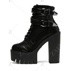 Double Buckle Platform Zipper Short Boots (3.065 RUB) ❤ liked on Polyvore featuring shoes, boots, ankle booties, zipper ankle boots, zipper booties, short boots, zipper bootie and ankle boots