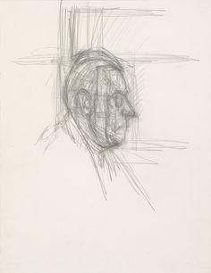 [Jean-Paul Sartre in Profile], circa 1949. Pencil reworked with eraser on paper, 29,3 x 22,5 cm. Alberto Giacometti, 1901-1966
