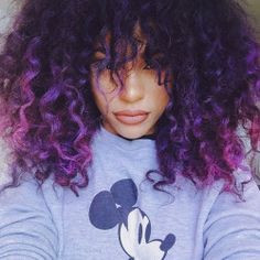Fulfill Your Purple Dreams with These 50 Purple Ombre Hair Ideas - My New Hairstyles Curly Purple Hair, Hair Color Purple, Ombre Hair, Purple Ombre, Purple Tips, Purple Hair Black Girl, Violet Ombre, Pink Hair, Black Girls