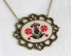 Necklace with Ukrainian folk embroidery. I used linen fabric natural color and cotton threads.    • Pendant is 5.2 cm x 6 cm (2 x 2 2/8)  • Embroidered