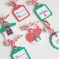 More tags! These are mini tags Penguins by Christmas Craft Fair, Christmas Gift Tags, Xmas Cards, Christmas Stuff, Handmade Tags, Greeting Cards Handmade, Lawn Fawn, Sweet Stamp Shop, Tiny Tags