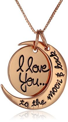 "Sterling Silver Rose-Gold Flashed ""I Love You To The Moon and Back"" Two Piece Pendant Necklace"