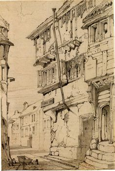 """- the global place for architecture students.~~""""Fisher Street, Carlisle"""" by John Ruskin Urban Architecture, Architecture Drawings, Drawing Sketches, Art Drawings, Drawing Ideas, Illustration Art, Illustrations, Urban Sketchers, Arte Pop"""