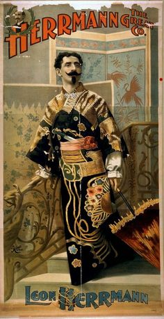 This poster shows Leon Herrmann in Japanese costume. The stage setting and props must have been spectacular.