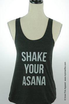 Shake Your Asana Yoga Tank by InnerFireApparel on Etsy Yoga Tank Tops, Athletic Tank Tops, Zumba, Pilates, Meditation, Wellness, Workout Shirts, Workout Gear, Asana