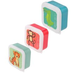 Fun Zoo Animals Design Set of 3 Plastic Lunch Boxes