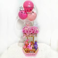 Wooden Basket, Surprise Box, Balloon Bouquet, Hampers, Event Decor, Balloons, Great Gifts, Cricut, Cupcakes