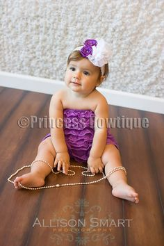 Dark Purple Lace Baby Toddler Romper..like the purple but any color you like would be fine with me & easy to get. Cream is really cute too for a more organic look which is more my style.
