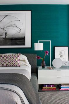 Textured wallpaper in bedroom? Maybe a different color, but love how the black…