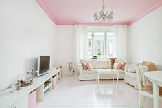 Wondering if I should paint Violet's ceiling pink as well? Worth the effort?