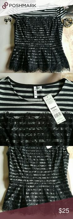"ELLE Black Lace Peplum Top Grey and black stripes with a black overlay make this ""Parisian Polish"" top.  Cap sleeves with lace detail on both front and back. Size XS. New with tags. Elle Tops Blouses"