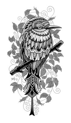 Bee Eater Wood Print - Bioworkz - Just one of Ben Kwok's incredible drawings printed onto wood :) I just love this one (and the others! Drawing Sketches, Art Drawings, Doddle Art, Zentangle Patterns, Zentangles, Art Plastique, Colouring Pages, Bird Art, New Art