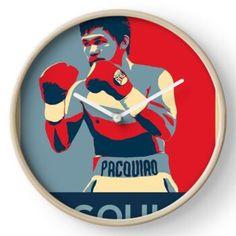 Manny Pacquiao, Quartz Clock Mechanism, Filipino, Hand Coloring, Porsche Logo, Bamboo, Range, Printed, Metal