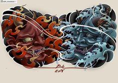 Japanese Warrior Tattoo, Japanese Mask Tattoo, Japanese Tattoo Symbols, Japanese Tattoo Designs, Japanese Sleeve Tattoos, Tattoo Designs Men, Grey Ink Tattoos, Asian Tattoos, Crow Tattoos