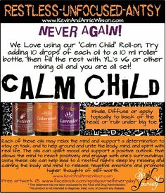 Calm Essential Oils For Autism, Calming Essential Oils, Essential Oil Uses, Calming Oils, Essential Oil Diffuser Blends, Young Living Essential Oils, Doterra Diffuser, Yl Oils, Doterra Essential Oils