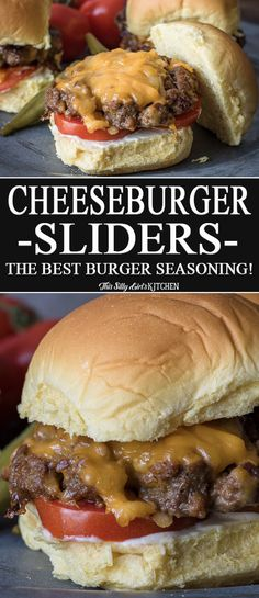 Sliders Cheeseburger Sliders, a recipe for the best burger seasoning! from Cheeseburger Sliders, a recipe for the best burger seasoning! The Best Burger, Best Burger Recipe, Good Burger, Burger Night, Hamburger Meat Recipes, Beef Recipes, Cooking Recipes, Healthy Recipes, Hamburger Seasoning Recipe