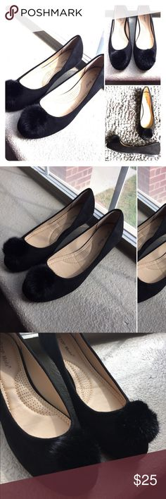 Black pompom flats Black velvet pompom flats! Never worn! NWT . Size 8.5 Shoes Flats & Loafers