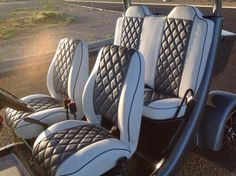Oh Boy! These Custom Blue/White Deep Diamond Quilted GEM car seats by Innovation Motorsports are bad ass Gem Cars, City Car, Diamond Quilt, Outdoor Furniture Sets, Outdoor Decor, Golf Carts, Car Seats, Innovation, Blue And White