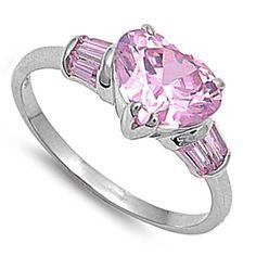 Sterling Silver Heart Shape Pink CZ Stones -