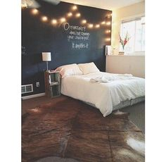 So I would like to put a chalkboard on one of my walls? Like 3 blue and 1 chalkboard? I think this would be really cool like this and I would love some Christmas lights too !