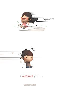 HJ-Story missed you Cute Couple Comics, Couples Comics, Cute Couple Cartoon, Cute Comics, Chibi Couple, Cute Love Gif, Cute Love Pictures, Funny Love, Cute Images
