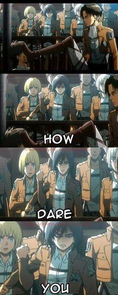 Okay I was like Mikasa when he was beating Eren I literally Saud I want to kill levi now