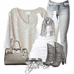 Love the loose sweater with a fitted tank top under. Jeans need to have high waist.