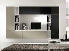 Modern Italian Wall Unit Kubo 51 by Artigian Mobili Tv Cabinet Design, Tv Wall Design, Tv Unit Design, Living Room Wall Units, Living Room Designs, Modern Tv Wall Units, Modern Wall, Contemporary Bookcase, Rack Tv