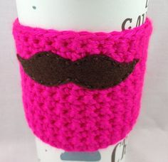 Neon Pink Brown Mustache Crochet Coffee Cozy