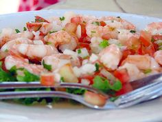 Make this shrimp ceviche recipe for appetizers or a main entree. Prepare this shrimp ceviche recipe for the family. Authentic Mexican Recipes, Mexican Food Recipes, Shrimp Ceviche, Mexican Appetizers, Shrimp Appetizers, Seafood Recipes, Cooking Recipes, Healthy Recipes, Easy Recipes