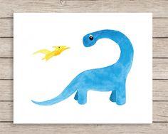 Apatosaurus and Pterodactyl Friend Art Print, Dinosaur Art, Dinosaur Nursery Art, Baby Dinosaur, Dinosaur Theme, Boy Room Art, Kids Wall Art by JulieAnnStudios on Etsy https://www.etsy.com/listing/226729596/apatosaurus-and-pterodactyl-friend-art