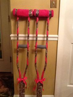 Camo & pink rhinestone crutches!