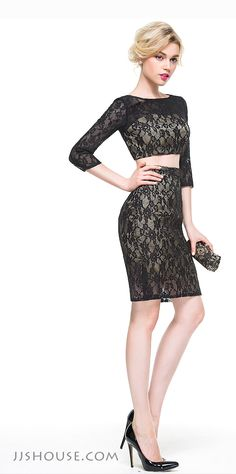 Don't want to expose your body too much yet be a little sexy? Then this sheath scoop neck knee-length lace two-piece dress is the best choice for you. #JJsHouse