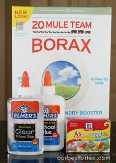 A good homemade slime recipe with borax instead of liquid starch. I think you can literally make just about anything with Borax!!