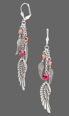 """Jewelry Design - Earrings with Celestial Crystal® Beads, Antiqued Silver-Plated. - Jewelry Design – Earrings with Celestial Crystal® Beads, Antiqued Silver-Plated """"Pewter"""" Cha - Beaded Jewelry Designs, Jewelry Design Earrings, Bead Earrings, Wire Jewelry, Jewelry Crafts, Jewelery, Crystal Earrings, Silver Earrings, Letter Earrings"""